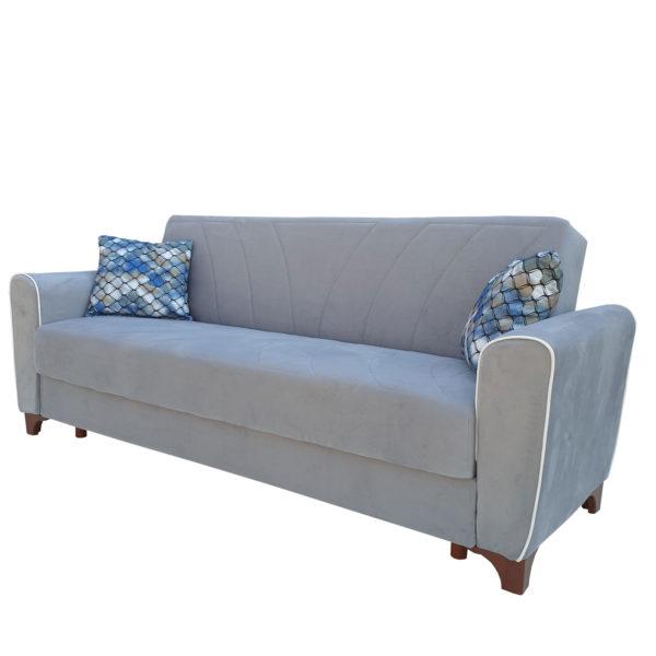 Canapea extensibil cu arcuri gri lada depozitare