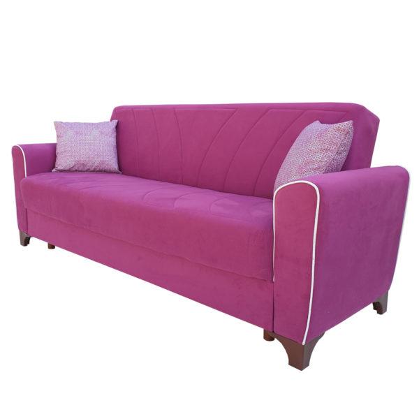 Canapea extensibil cu arcuri lada depozitare roz pink