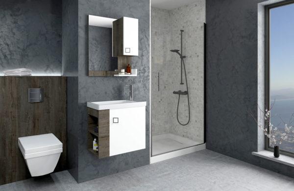 Mobilier baie oglinda led chiuveta lavoar gri alb antracyt 70 80 60 cm